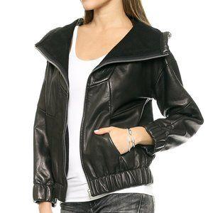 IRO Black Jeffrey Hoodie Leather Coat  40